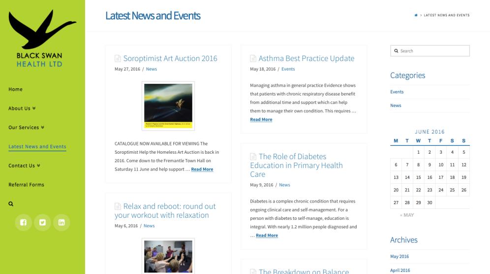 Black Swan Health Web Design Blog Page - Tess Palmyre